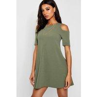 Cold Shoulder Swing Dress - olive