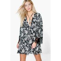 Floral Babydoll Dress - black