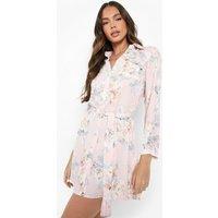 Floral Shirt Dress - pink