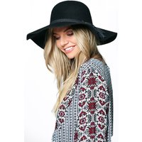 Wool Floppy Hat With Tassel Trim - black