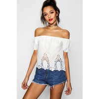 Crochet Trim Off The Shoulder Top - white