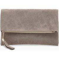 Suedette Fold Over Clutch Bag - grey