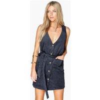 Button Front Cord Dress - blue