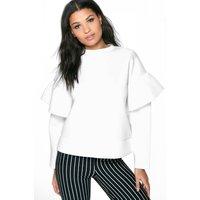Ruffle Sleeve Sweater - white