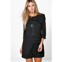 Pleat Detail 3/4 Sleeve Shift Dress - black