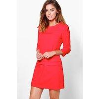 Pleat Detail 3/4 Sleeve Shift Dress - red