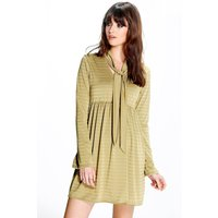 Shimmer Stripe Smock Tie Neck Dress - olive