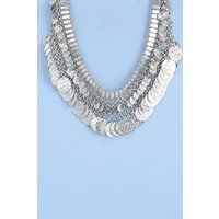 Layered Coin Necklace - silver