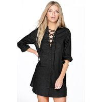 Lace Up Collar Cotton Shirt Dress - black