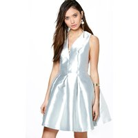 Alicia Metallic Seam Detail Prom Dress - grey