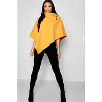Womens Cape With Buttons - yellow - One Size, Yellow