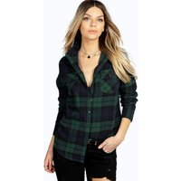 Brushed Large Checked Shirt - green