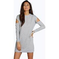 Cut Out Shoulder Sweat Dress - silver