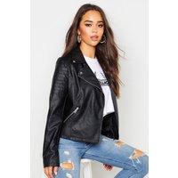 Womens Faux Leather Biker Jacket - Black - M, Black