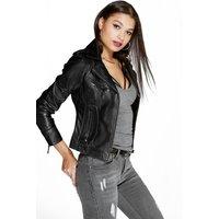 Zoe Leather Biker Jacket - black