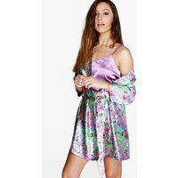 Satin Floral Night Robe - multi