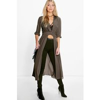 Womens Plunge Neck Split Maxi Shirt - green - 12, Green