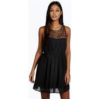 Ava Embellished Top Skater Prom Dress - black