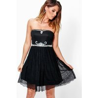 Lilly Embellished Lace Skirt Prom Dress - black
