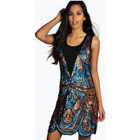 Ciara All Over Embellished Shift Dress - blue