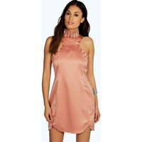 Audrey Stud Detail High Neck Shift Dress - blush