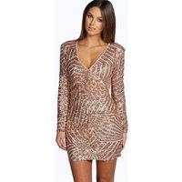 Womens Boutique Sequin Panelled Bodycon Dress - Beige - 14, Beige