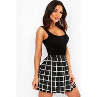 Womens Check Textured Box Pleat Skater Skirt - black - 8, Black