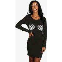 Glow In Dark Skeleton Bodycon Dress - black
