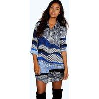Paisley Shirt Dress - blue