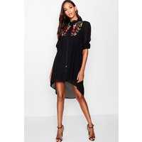 Ana Embroidered Shirt Dress - black