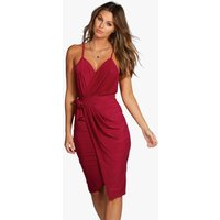 Wrap Detail Plunge Slinky Midi Dress - raspberry