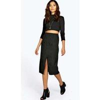 Wrap Over Button Woven Midi Skirt - black