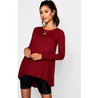 Womens Tall Long Sleeve Basic Swing Tee - red - 8, Red