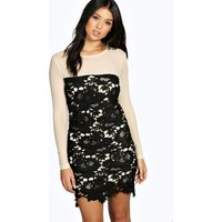 Marie Lace & Mesh Bodycon Dress - black
