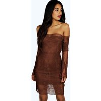Iris Off Shoulder Lace Bodycon Dress - chocolate