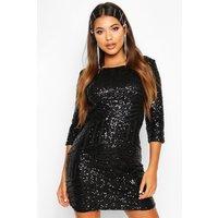 Womens Boutique Sequin Bodycon Dress - black - 16, Black