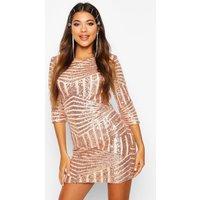 Womens Boutique Sequin Bodycon Dress - Metallics - 10, Metallics