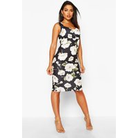Womens Floral Sweetheart Midi Dress - Black - 8, Black