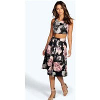 Floral Box Pleat Midi Skirt Co-Ord Set - multi