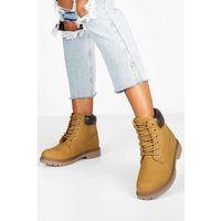 Womens Padded Cuff Chunky Hiker Boots - Beige - 4, Beige