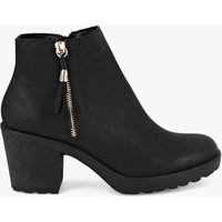 Womens Fringe Trim Block Heel Chelsea Boots - black - 8, Black