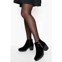 Fringe Trim Suedette Chelsea Boot - black