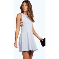 Textured Cut Out Skater Dress - baby blue
