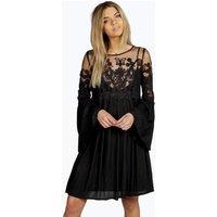 Carmen Lace Wide Sleeve Dress - black