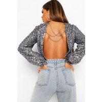 Womens Sequin Chain Back Detail Long Sleeve Top - Purple - 6, Purple