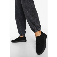 Womens Basic Knitted Sports Trainers - Black - 5, Black