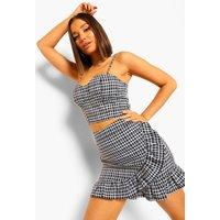 Womens Checked Frill Detail Mini Skirt - Black - 12, Black