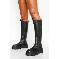 Womens Knee High Chelsea Boot - Black - 7, Black