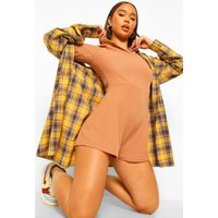 Womens Hooded Rib Oversized Playsuit - Beige - 14, Beige