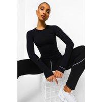Womens Seamless Active Long Sleeve Top - Black - M, Black